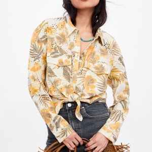 Zara floral printed shirt with cutwork embroidery